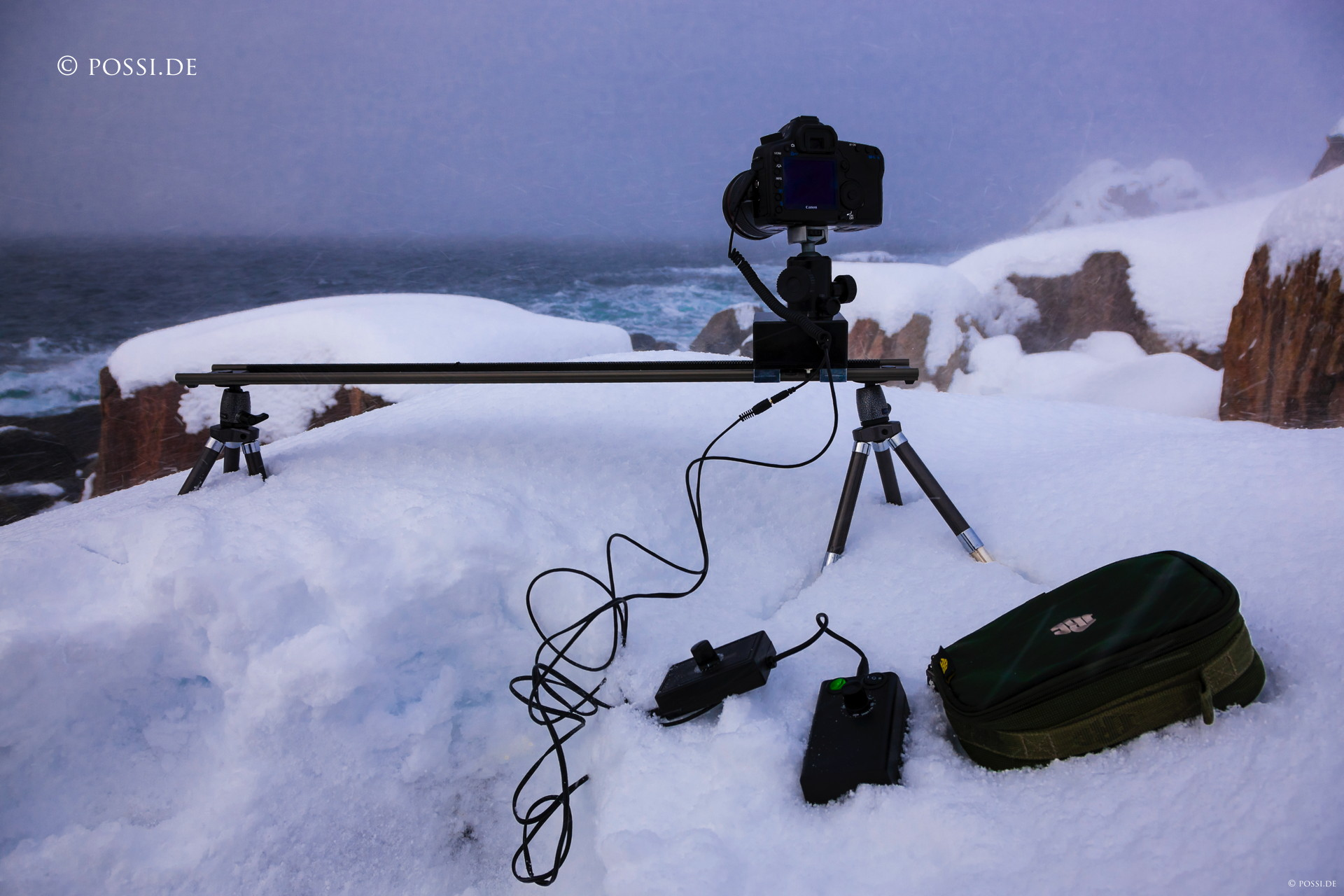Our first motorized slider in action on the Lofoten islands in Norway.