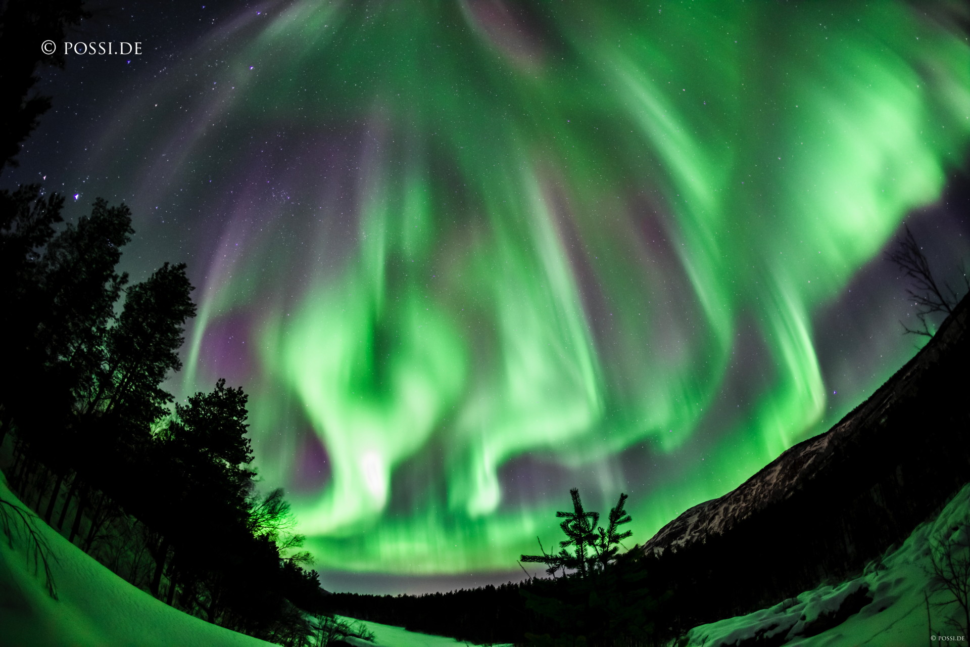 "You cannot have an enough wide angle when the aurora borealis explodes over your head. Screenshot from the time-lapse ""Arctic Lightscapes"" (Norway)"